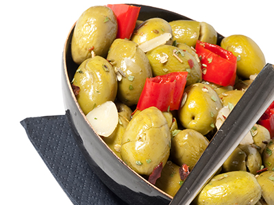 Olive Verdi Schiacciate Condite